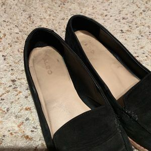 Aldo Shoes - Aldo Black Suede Pointy Toe Loafers with Wood Heel